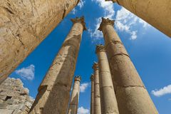 Columns from the Temple of Artemis, Jerash Royalty Free Stock Image