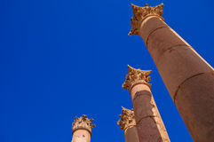 Columns in Temple of Artemis, Jerash Jordan Royalty Free Stock Images