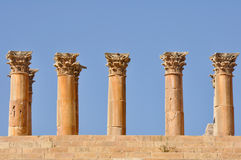 Columns of Temple of Artemis, Jerash (Jordan) Stock Images