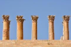 Columns of Temple of Artemis, Jerash (Jordan) Stock Images