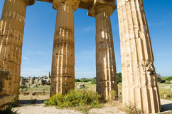 Columns of The Temple of Hera (Temple E) at Selinu Royalty Free Stock Photos