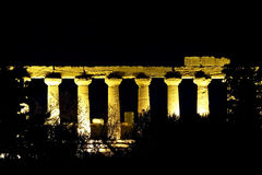 Columns of a temple during the night. The columns of a greek temple in Agrigento during the night Royalty Free Stock Image