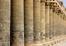 Columns in the Temple of Philae. On Elephantine Island in the Nile near Aswan Stock Photo
