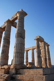 Columns from temple of Poseidon in Greece Royalty Free Stock Photography
