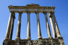 Columns of the Temple of Saturn in Rome. Columns of the Temple of Saturn in the imperial fora in Rome (Italy Royalty Free Stock Images