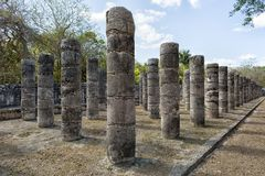 Columns at Chichen Itza Mexico. Columns in the Temple of a Thousand Warriors at the Chichen Itza archaeological site in Mexico Stock Photos