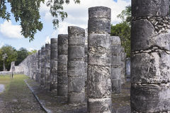 Columns in the Temple of a Thousand Warriors in Chichen Itza rui Stock Images