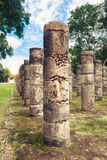 Columns in Temple of a Thousand Warriors in Chichen Itza, Yucata Stock Images
