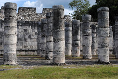 Columns by the Temple of the Warriors Chichen Itza Stock Photo