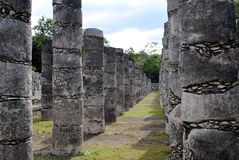 Columns by the Temple of the Warriors Chichen Itza Stock Image