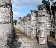 Columns by the Temple of the Warriors Chichen Itza Royalty Free Stock Photography