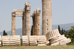 Columns of the Temple of Zeus. Ruins of the Temple of Olympian Zeus, with its Corynthian columns,near the Acropolis, in Athens, Greece Stock Photography