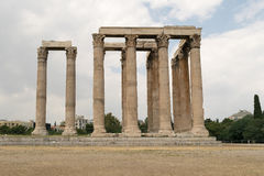 Columns of the temple of zeus against a blue sky. Stock Photography