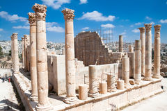 Columns of the temple of Zeus in Jerash Royalty Free Stock Image