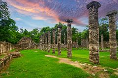 Columns of the Thousand Warriors in Mexico Royalty Free Stock Images