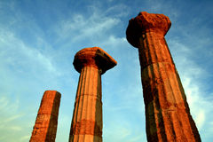 Columns top on blue electric sky. Agrigento Sicily Royalty Free Stock Images
