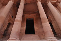 Columns at the Treasury in Petra royalty free stock image