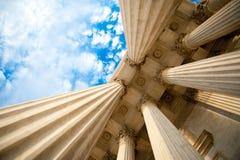Columns at the U.S. Supreme Court. Upward view from the front portico of the U.S. Supreme Court Stock Photo