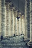 Columns in the Vatican city. Columns of the St Peter`s square in the Vatican city Royalty Free Stock Image