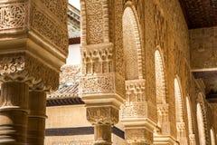 Columns and walls in patio de los Leones, detail Royalty Free Stock Photography