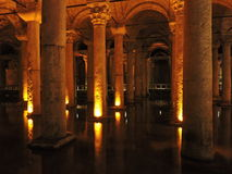 Columns, water and lights Royalty Free Stock Images