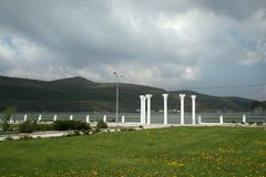Columns on the waterfront of the lake in Abrau-Dyurso Royalty Free Stock Photos