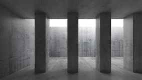 Columns and white ceiling window. 3d. Abstract architecture background, empty concrete room interior with columns and white ceiling window. 3d illustration Stock Photos