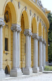 Columns. Yellow stone vaulted arcade Renaissance colonnade Stock Photos