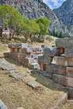 Colums in Ancient Greek archaeological site of Delphi, Greece Stock Photo