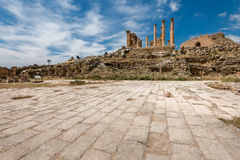 Colums of ancient Roman city of Gerasa, Royalty Free Stock Photos