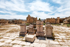 Colums of ancient Roman city of Gerasa, Stock Photo