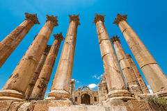 Colums of ancient Roman city of Gerasa, Royalty Free Stock Image