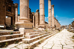Colums in the ancient Roman city of Gerasa Stock Photography