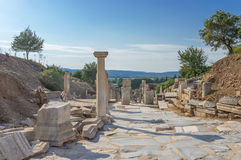 Colums on marble street  in Ephesus Royalty Free Stock Photos
