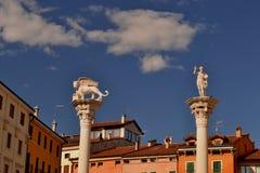 Colums von Marktplatz dei Signori in Vicenza - Italien - Stockfotografie