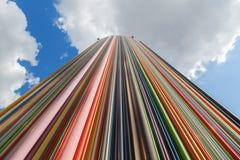 Coluna artística na defesa do La do distrito, Paris, França Fotografia de Stock