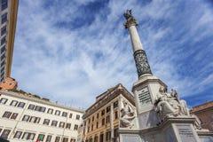 Coluna da concepção imaculada no quadrado espanhol em Roma foto de stock royalty free