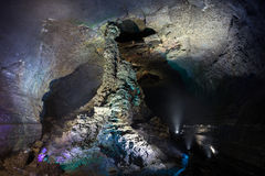 Coluna da lava no Manjanggul Lava Tube Cave na ilha de Jeju fotografia de stock royalty free