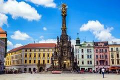 Coluna da trindade santamente em Olomouc, República Checa 14 de junho de 2017 Fotografia de Stock Royalty Free
