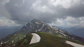 Coluna de pedra do PIC da montanha, voando para baixo ao monte verde com muitas flores vídeos de arquivo