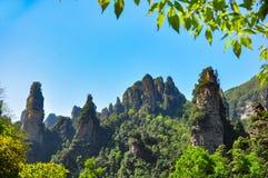 Coluna do arenito de quartzo em Zhangjiajie em China imagem de stock royalty free