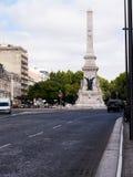 Coluna do memorial de guerra no Avenida de Liberdade em Lisboa o capital de Portugal Imagens de Stock