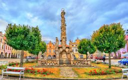 Coluna do praga em Telc, República Checa imagem de stock royalty free