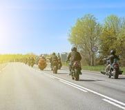 Coluna dos motociclistas foto de stock