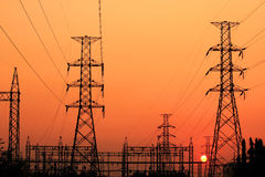 Coluna elétrica de alta tensão Foto de Stock