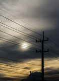 Coluna elétrica no crepúsculo Imagem de Stock Royalty Free