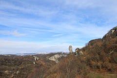 A coluna no inverno, Geórgia de Katskhi, Sakartvelo imagens de stock