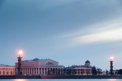 Coluna Rostral em St Petersburg. Rússia. Fotos de Stock Royalty Free