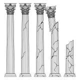 Colunas antigas gregas hist?ricas arruinadas com capitais da linha ilustra??o do vetor da autoriza??o de Korinvinsky ilustração royalty free