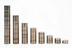 Colunas das moedas Imagens de Stock